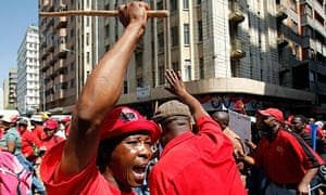 Union members protest in Johannesburg during strikes by public sector employees.