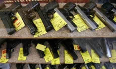 Handguns for sale in a shop in Red Falls, Idaho, USA