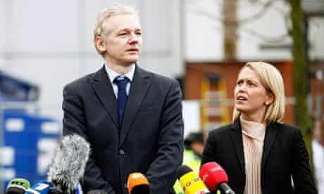 Wikileaks founder Julian Assange, with his lawyer Jennifer Robinson, speaks outside court.