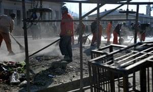 Suicide bomb blast site in Kabul