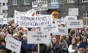 People take to the streets of Reykjavik