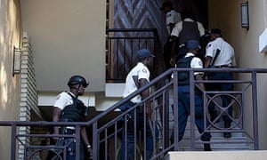 Haiti police at the Hotel Karibe in Port-au-Prince to bring out Jean Claude 'Baby Doc' Duvalier.