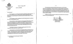 A copy of the 1997 letter from the Vatican warning Irish bishops not to report child-abuse cases