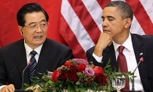 Barack Obama and Hu Jintao at a press confrence in Washington