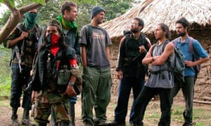 Mark Henderson with fellow captives in Colombia, 2003
