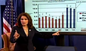 Michele Bachmann delivering her response to President Barack Obama's state of the union address.