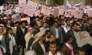 Yemenis attend a protest in Sana'a