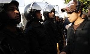 Anti-government protester in Cairo, Egypt