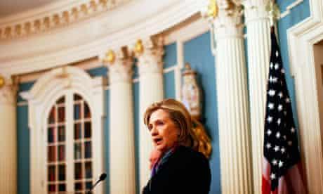 Secretary Of State Hillary Clinton Addresses The Media