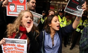 UK uncut protest outside Topshop