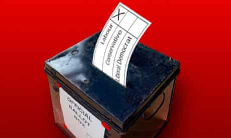 British election ballot box with voting slip into the slot.. Image shot 2006. Exact date unknown.