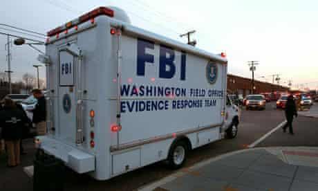 FBI van outside Washington DC postal office
