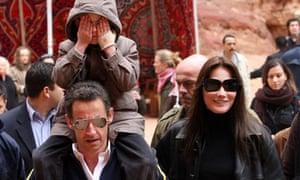 Nicolas Sarkozy and Carla Bruni visit  Petra in Jordan with Bruni's son Aurélien