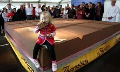 The centenary chocolate bar unveiled at Thorntons' headquarters in Alfreton, Derbyshire