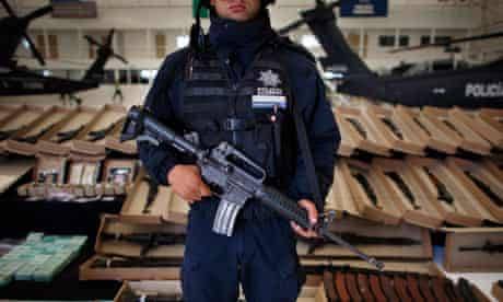 Weapons seized from the Zetas. A gang member recruited to an alleged Iranian plot was an informant