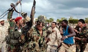Anti-Gaddafi fighters celebrate Sirte