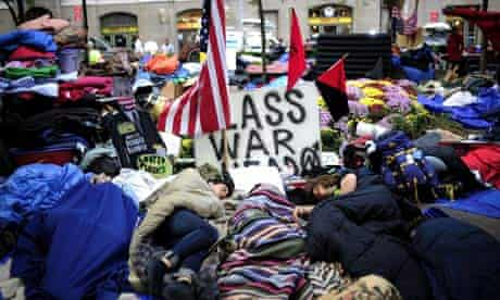 Members of Occupy Wall Street sleep in Zuccotti Park near Wall Street, New York