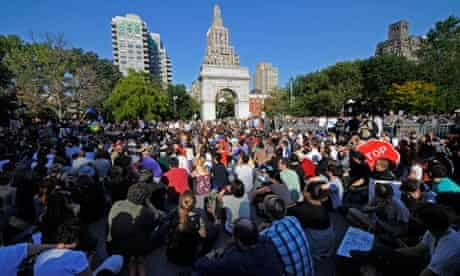 Occupy Wall Street protesters gather in Washington Square Park, New York
