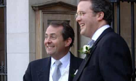 Liam Fox with friend and best man Adam Werritty