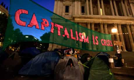 A banner put up by protesters from the Occupy London Stock Exchange group