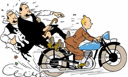 Tintin with the Thomson twins and Snowy
