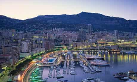 The marina waterfront and town of Monte Carlo, Monaco