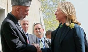 Hillary Clinton and Hamid Karzai