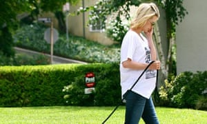 January Jones walking her dog, Los Feliz, Los Angeles, America - 29 Jul 2011