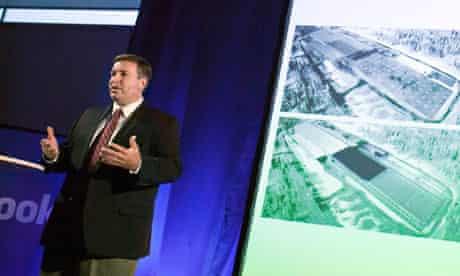 Tom Furlong, Facebook's director of site operations, unveils the 'green' datacentre in Lulea, Sweden
