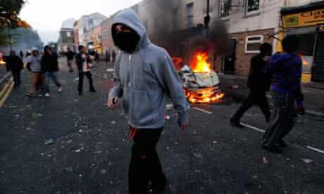 Rioters in Hackney, north London