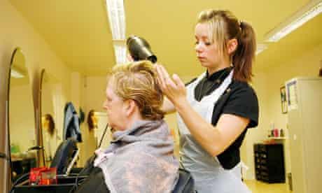 Hair dresser at salon