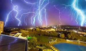 A multiple exposure photograph showing lightning striking above Maseru, Lesotho