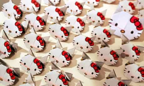 "Origami ""Hello Kitty""s designed by a Japanese artist are displayed at exhibition in Hong Kong"