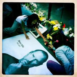A shrine to Steve Jobs at the Beijing Apple Store