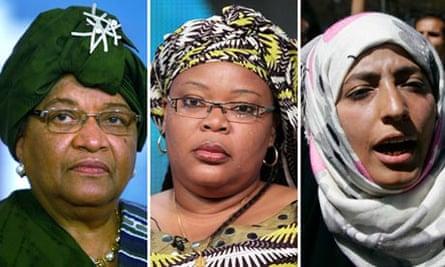 Ellen Johnson Sirleaf, Leymah Gbowee and Tawakkul Karman