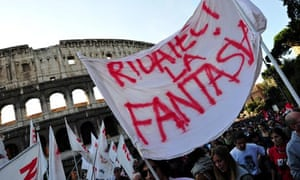 Protesters in Rome, Italy