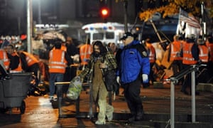 Sanitation workers clear the 'Occupy Wall Street' protesters from Zuccotti Park