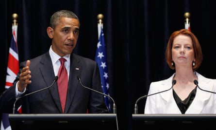 U.S. President Barack Obama and Prime Minister Julia Gillard hold joint news conference in Australia