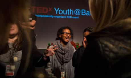 Sixthformers introduce themselves to each other at the TEDxYouth@Bath event