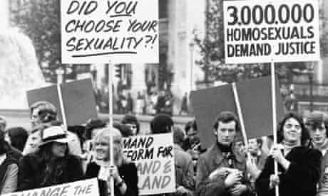 A campaign for homosexual equality rally in Trafalgar Square, 1974