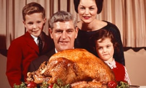 A family celebrates Thanksgiving in America