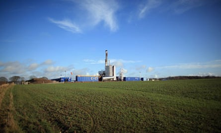 The drilling rig of Cuadrilla Resources searches for shale gas, near Blackpool, Lancashire