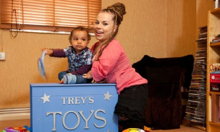 Michelle Harris and her son, Treziah, at home