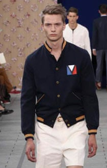 Men's fashion: Louis Vuitton: navy varsity jacket. Louis Vuitton: navy varsity jacket