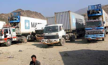 Nato supply trucks wait for clearance to cross into Afghanistan by Pakistani officials.