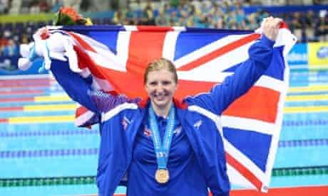 Rebecca Adlington celebrates taking gold at the World championships in Shanghai