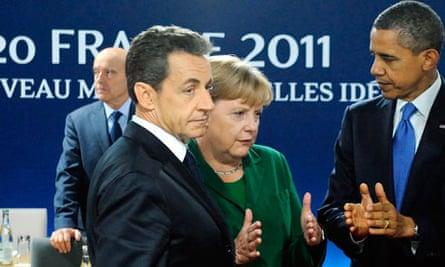 G20 Nicolas Sarkozy and Angela Merkel