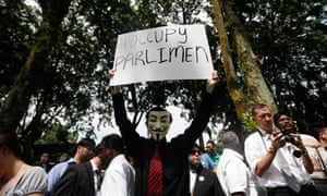 A protest against the peaceful assembly bill in Kuala Lumpur