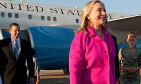 Hillary Clinton arrives in Naypyitaw, Burma