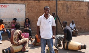 Acksed Sakala teaches drumming and dance in Africa Directions' HQ in Lusaka, Zambia